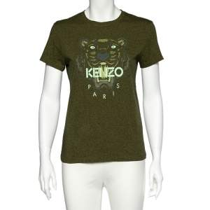 Kenzo Olive Green Tiger Print Melange Cotton Crew Neck T-Shirt M