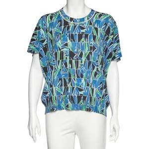 Kenzo Blue Printed Cotton Knit Short Sleeve Top XL