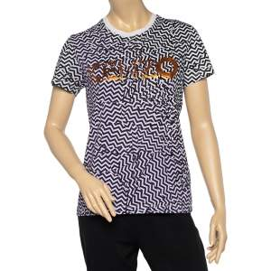 Kenzo Black Zig Zag Logo Print Cotton Crew Neck T-Shirt M