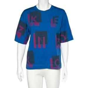 Kenzo Blue Logo Print Cotton Crew Neck T-Shirt S