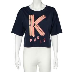 Kenzo Navy Blue K Logo Print Cotton Crew Neck Cropped T-Shirt XL