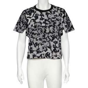 Kenzo Black Abstract Print Cotton Cropped Sweatshirt L