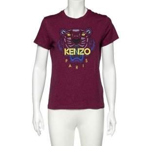 Kenzo Magenta Tiger Printed Cotton Crew Neck T-Shirt M