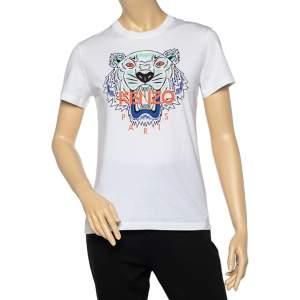 Kenzo White Tiger print Cotton Crew Neck T-Shirt M