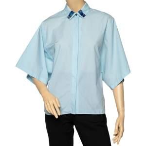 Kenzo Blue Cotton Collar Patch Detail Oversized Sleeve Shirt M