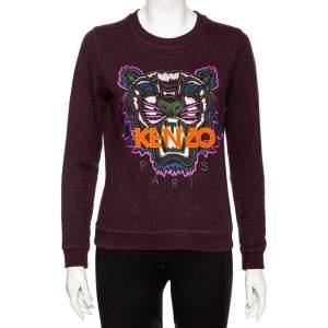 Kenzo Burgundy Knit Embroidered Tiger Logo Motif Round Neck Sweatshirt M