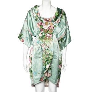 Kenzo Mint Green Floral Print Linen Blend Double Breasted Coat M