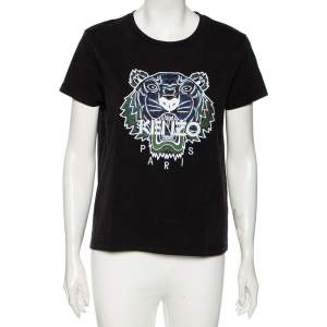 Kenzo Black Cotton Tiger Embroidered Short Sleeve T-Shirt M