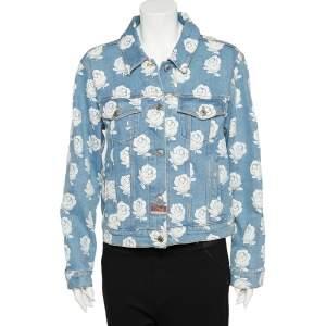 Kenzo Blue Rose Printed Denim Button Front Jacket L