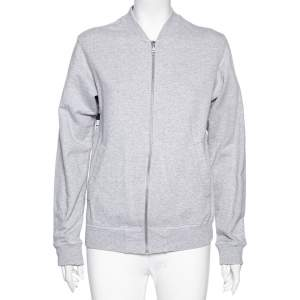 Kenzo Grey Knit Tiger Logo Embroidered Back Zip Front Jacket S