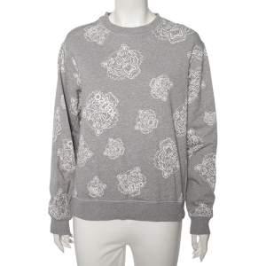 Kenzo Grey Cotton Tiger Printed Crewneck Sweatshirt M