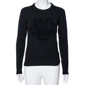 Kenzo Black Wool Knit Flocked Tiger Detailed Sweater M