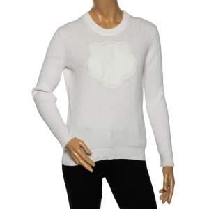 Kenzo White Textured Knit Tiger Embossed Crewneck Sweatshirt M