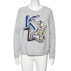 Kenzo Grey Cotton Letter Logo Printed Long Sleeve Crewneck Sweatshirt L