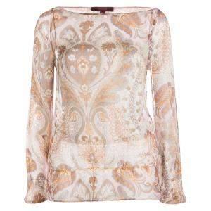 Kenzo Pink Paisley Printed Crinkled Silk Chiffon Long Sleeve Blouse M