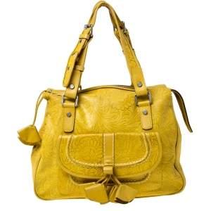 Kenzo Yellow Leather Flower Tassel Shoulder Bag