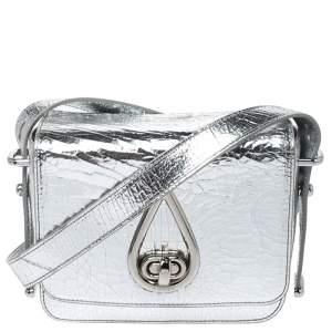Kenzo Metallic Silver Cracked Leather Raindrop Crossbody Bag