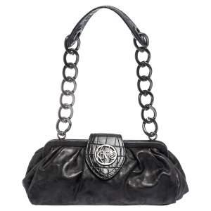 Kenzo Black Leather Frame Pochette Bag