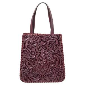 Kenzo Burgundy Embossed Leather Stitches Tote