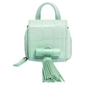 Kenzo Mint Green Croc Embossed Leather Mini Sailor Bag