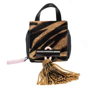 Kenzo Black/Brown Tiger Print Calfhair and Leather Mini Sailor Bag