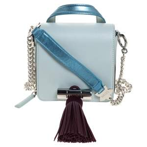 Kenzo Tri Color Leather and Suede Mini Sailor Chain Top Handle Bag