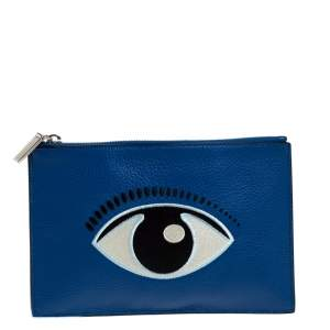 Kenzo Blue Eye Leather Zip Clutch