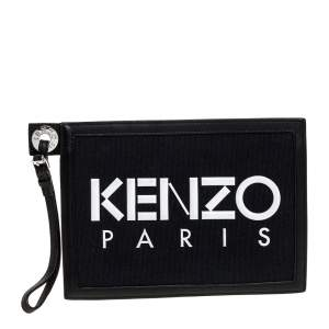 Kenzo Black Canvas and Leather Wristlet Clutch