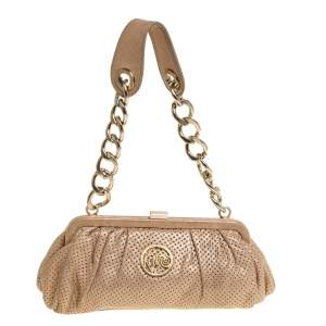 Kenzo Metallic Beige Perforated Leather Frame Pochette Bag