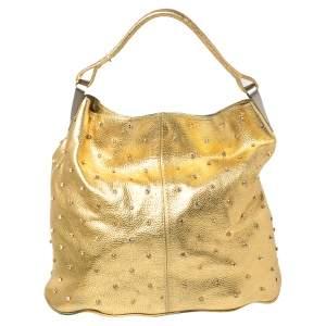 Kenzo Gold Embellished Grained Leather Woven Handle Hobo