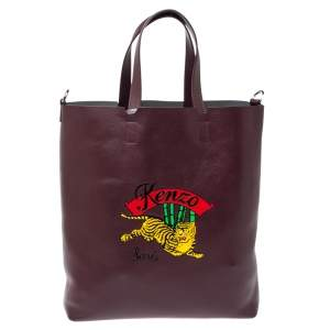 Kenzo Burgundy Leather Jumping Tiger Tote