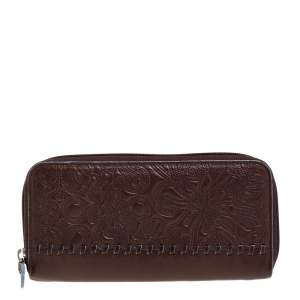 Kenzo Brown Embossed Leather Zip Around Continental Wallet