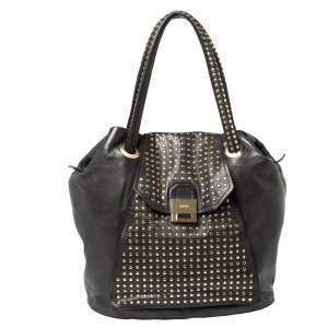 Kenzo Black Leather Studded Flap Shoulder Bag