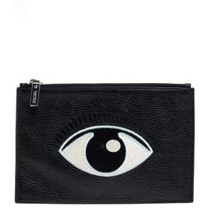 Kenzo Black Grained Leather Eye Embroidered Clutch