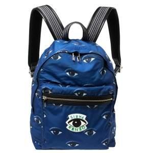 Kenzo Blue Nylon All Over Eyes Backpack