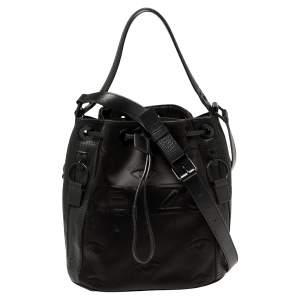 Kenzo Black Embossed Satin and Leather Kombo Bucket Bag