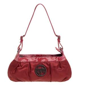 Kenzo Red Pleated Nylon and Leather Small Zip Hobo