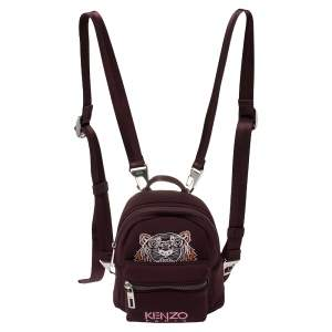 Kenzo Dark Burgundy Neoprene Mini Embroidered Tiger Backpack