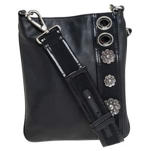 Kenzo Black Leather and Patent Leather Trim Metal Floral Embellished Messenger Bag