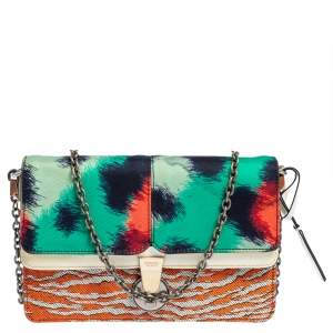 Kenzo Multicolor Printed Canvas and Patent Leather Double Flap Shoulder Bag