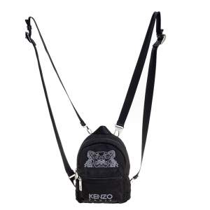 Kenzo Black Canvas Mini Embroidered Tiger Backpack