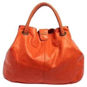 Kenzo Burnt Orange Leather Studded Handle Hobo