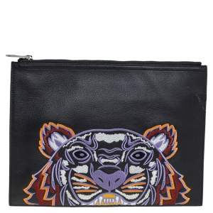 Kenzo Black Leather Tiger Embroidered Zipper Clutch