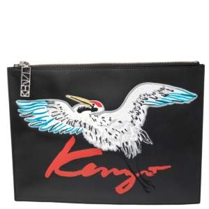 Kenzo Black Crane Embroidered Large Leather Pouch