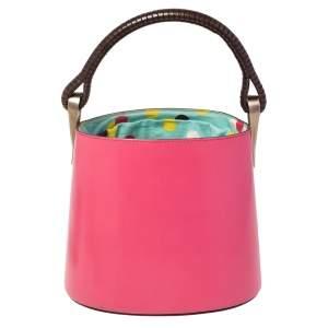 Kenzo Pink Leather Drawstring Bucket Bag