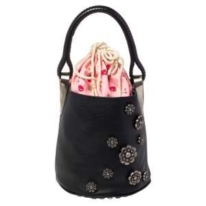 Kenzo Black Leather Embellished Drawstring Bucket Bag