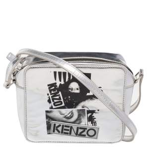 Kenzo Silver Patent Leather Donna Jordan Crossbody Bag