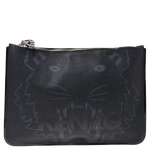 Kenzo Black Tiger Print Coated Canvas and Patent Leather Wristlet Pouch