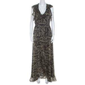 L'agence Brown Abstract Printed Silk Sophie Flutter Maxi Dress M