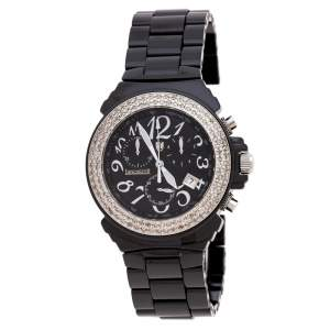 Lancaster Black Ceramic Stainless Steel Ref.0285 Women's Wristwatch 39 mm